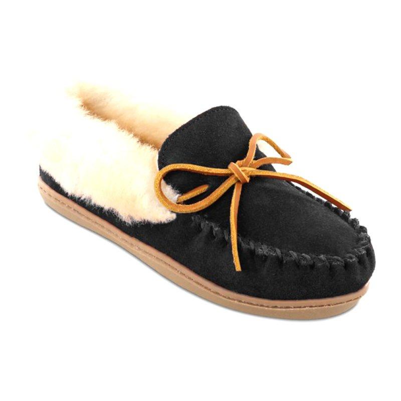 Minnetonka Moccasin Women Alpine Sheepskin Moccasin Black 3370