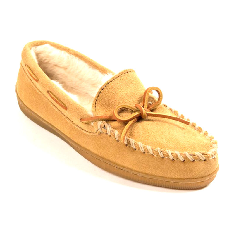 Minnetonka Moccasin Women Pile Lined Hardsole Tan 3501