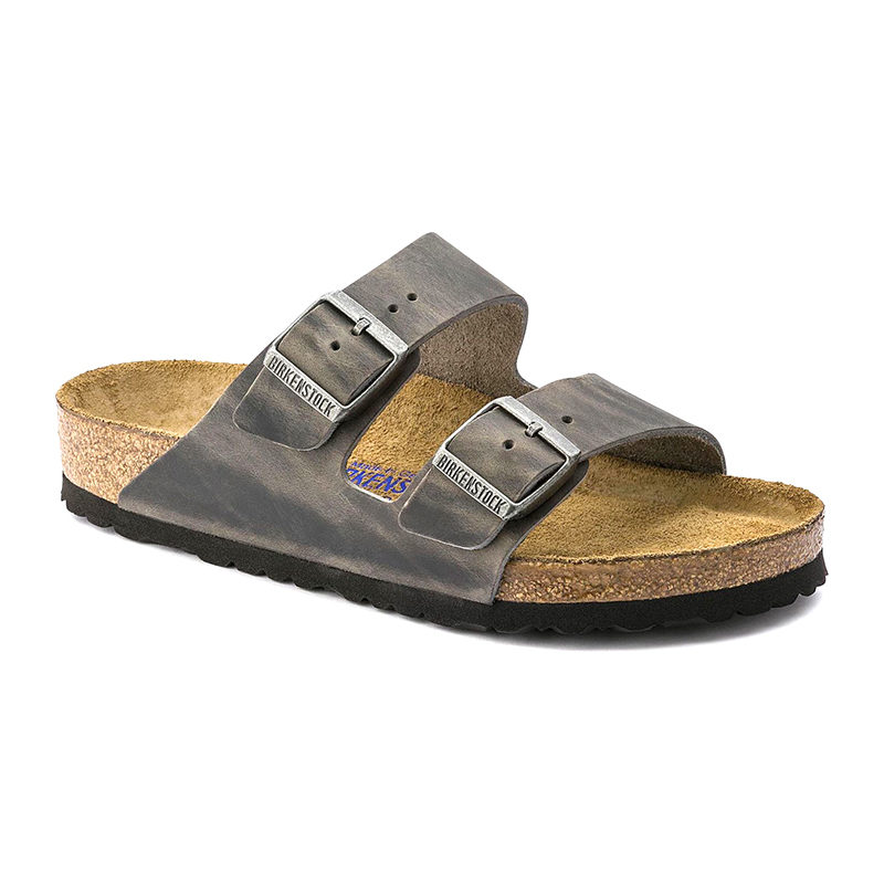 Birkenstock Men Arizona Soft Footbed Iron Oiled Leather