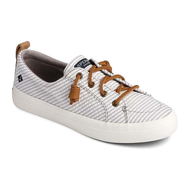 Sperry Women Crest Vibe Seersucker Stripe Sneaker Grey White