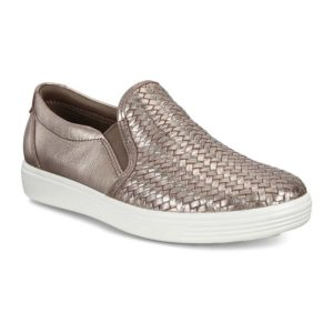 Ecco | Soft 7 Woven Slip-On – Stone Metallic