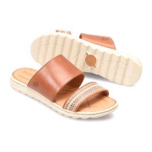 Born | Shore – Brown Cognac Leather & Fabric Combo